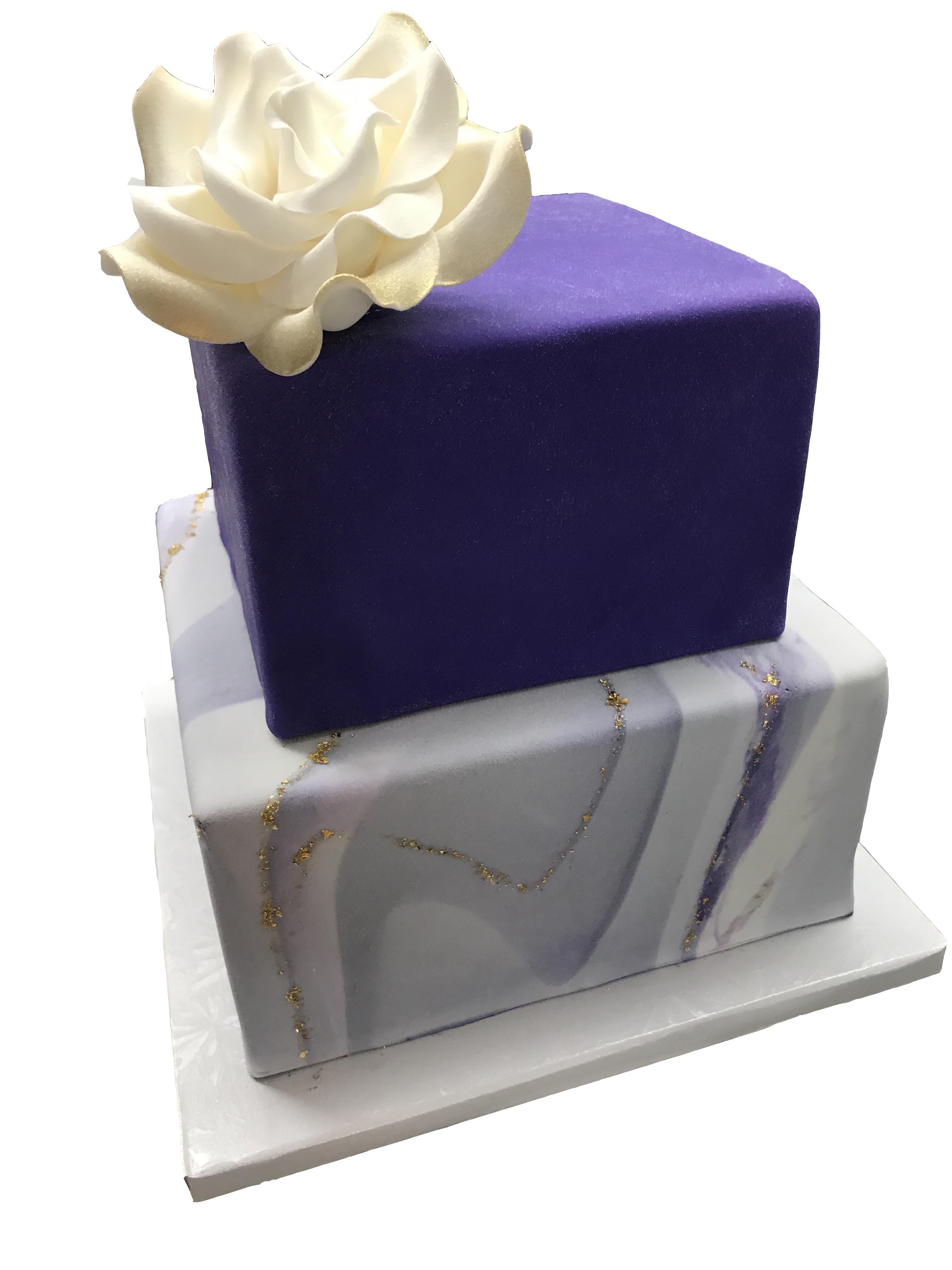 Two tier cake with purple and marble fondant from Copenhagen Bakery in Burlingame California