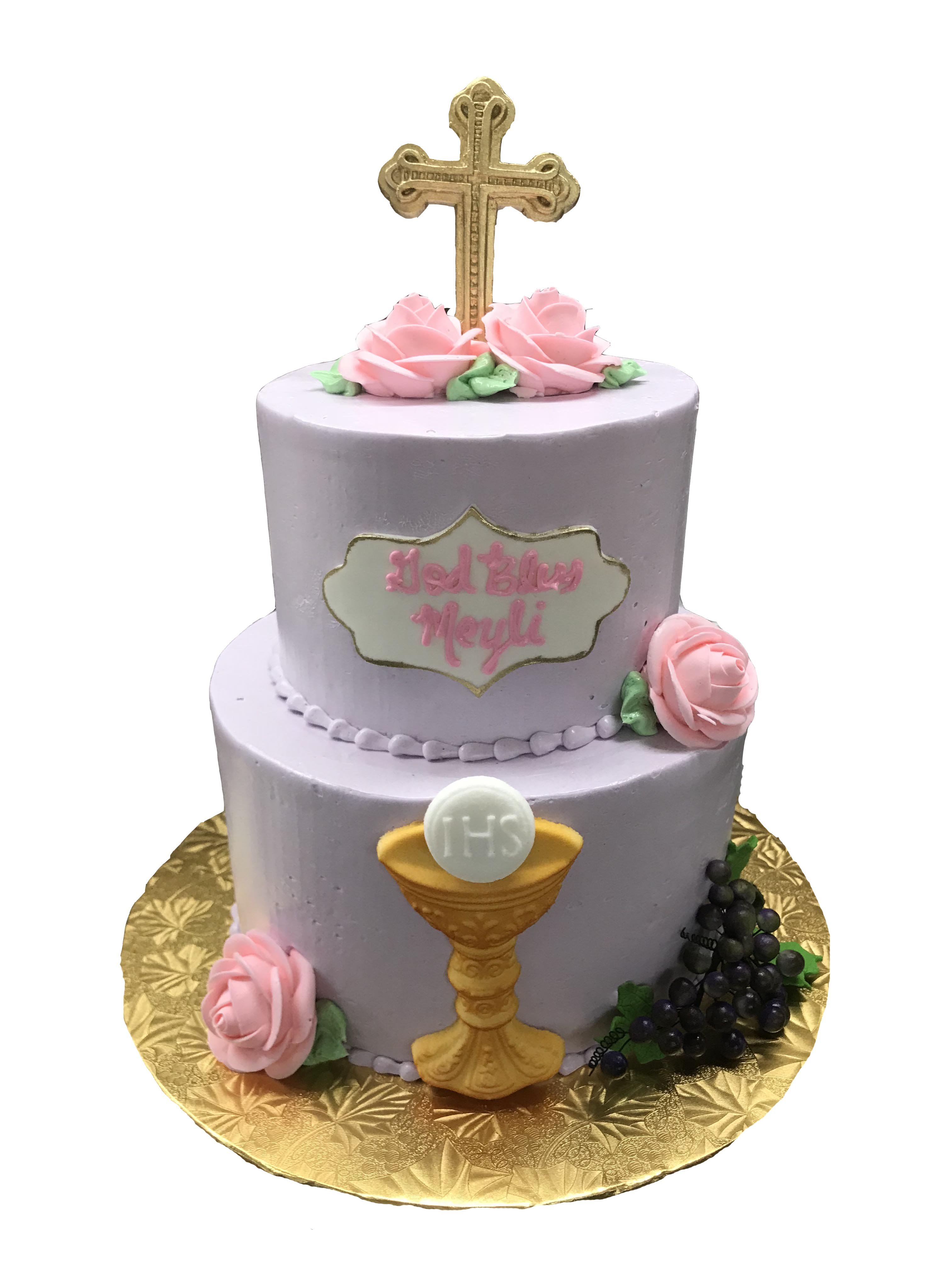 two tier first communion cake with roses