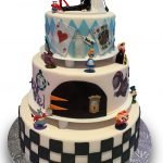Alice in wonderland themed wedding cake