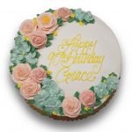 Blush pink and powder blue floral buttercream birthday cake