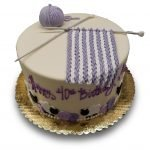 Fondant covered cake with fondant needles, knitting and sheep