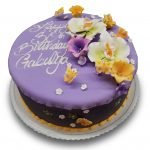 Lavender and violet fondant birthday cake with gumpaste orchids