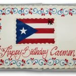 Puerto Rican flag scan birthday cake with multicolored scrolls