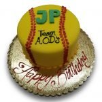 Fondant covered softball birthday cake