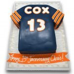 Fondant covered jersey shaped cake