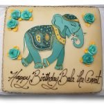 Teal elephant edible scan image birthday cake with teal and gold roses