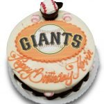 Giants scan birthday cake with sugar baseballs