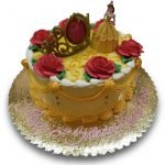 Belle and red roses birthday cake