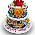 tiered colorful fiesta birthday cake