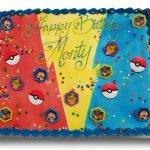 Airbrushed pokemon cake with pokemon rings and sprinkles