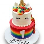 Bright rainbow unicorn birthday cake