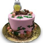 totoro birthday cake with mushrooms and branches