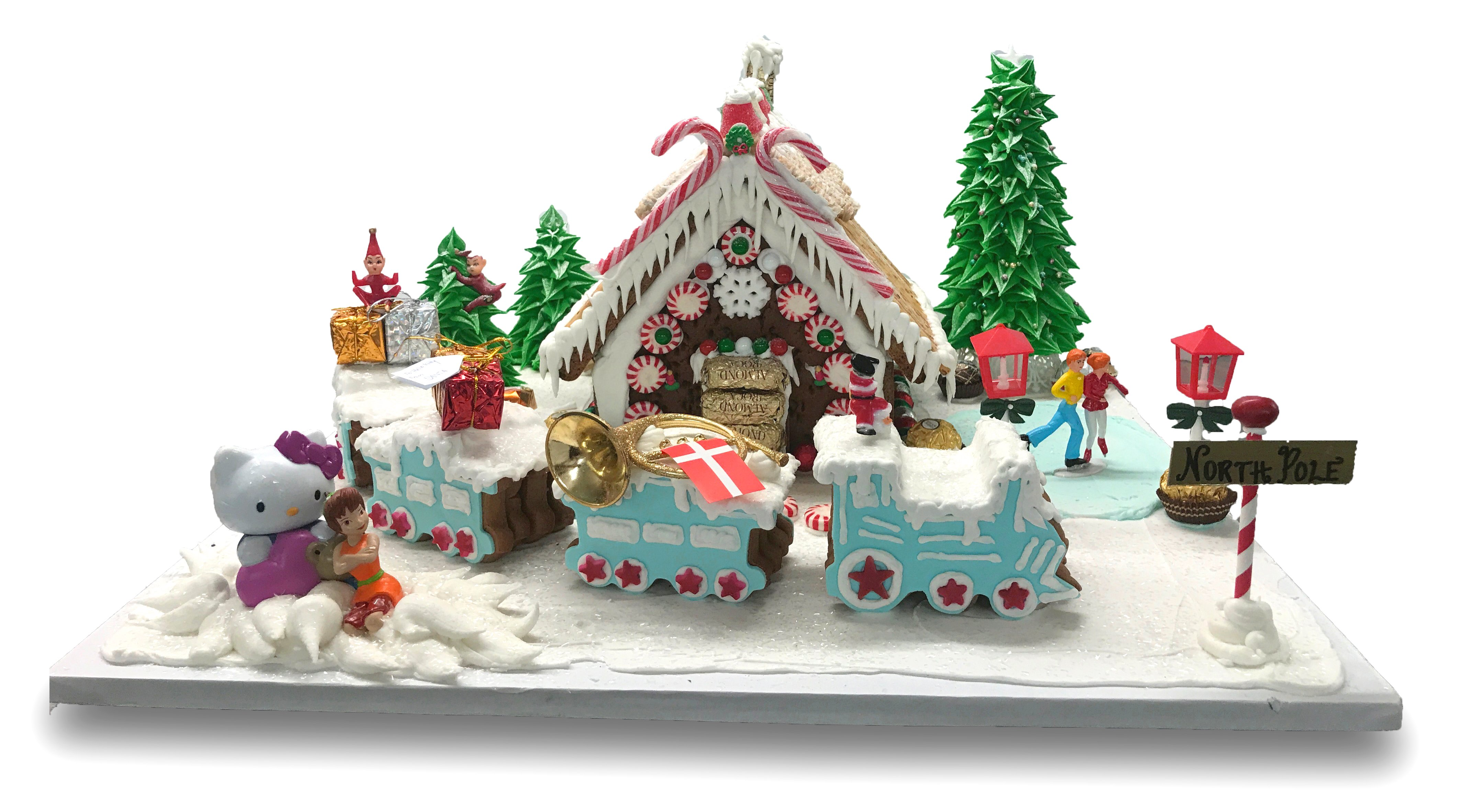 Gingerbread house and train