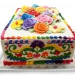 colorful fiesta floral birthday cake