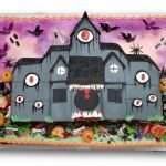 Fondant haunted house cake with airbrished background