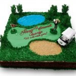 Golf themed retirement cake with golf cart