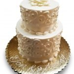 small scrolled wedding cake