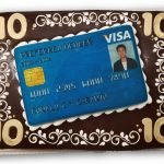 10 year workiversary cake with scanned visa card image