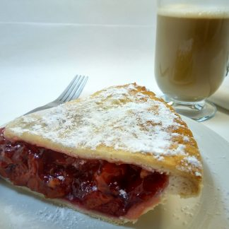 Strawberry Rhubarb Pie with coffee