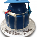 Blue and silver graduation cake