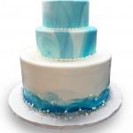 Fondant covered iceberg wedding cake