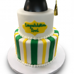 Tiered green and yellow grad cake